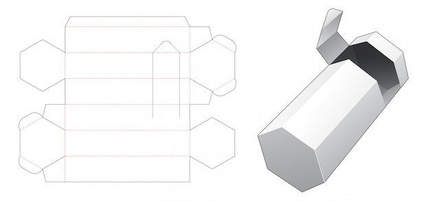 Hexagonal packaging box with with zipping die cut template Premium Vector
