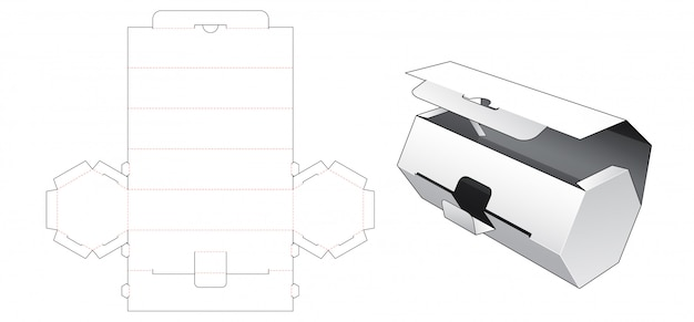 Hexagonal packaging die cut template Premium Vector