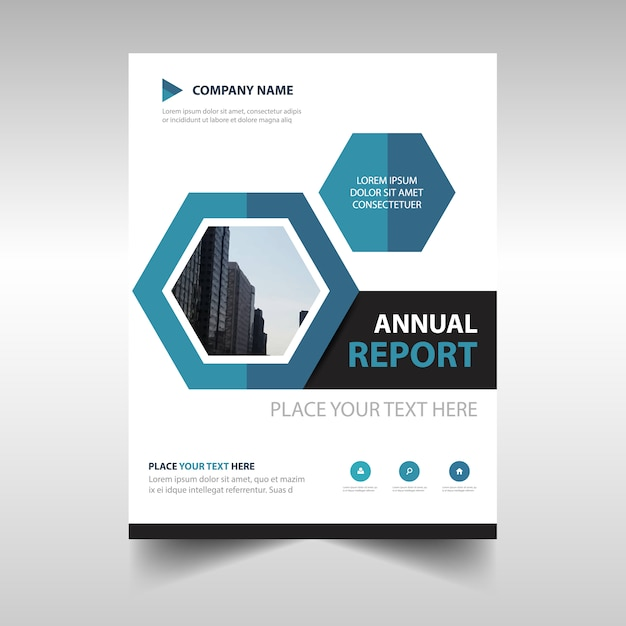 Hexagonal Professional Annual Report Template Vector  Free Download