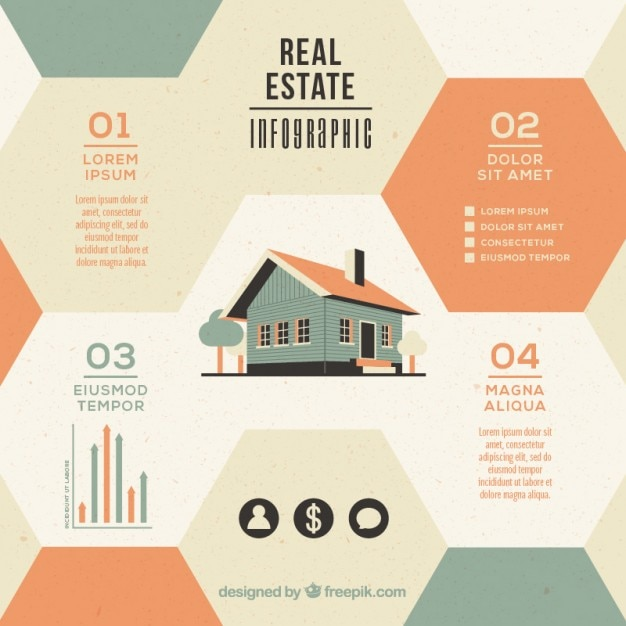 hexagonal real estate infographic with house in flat design vector