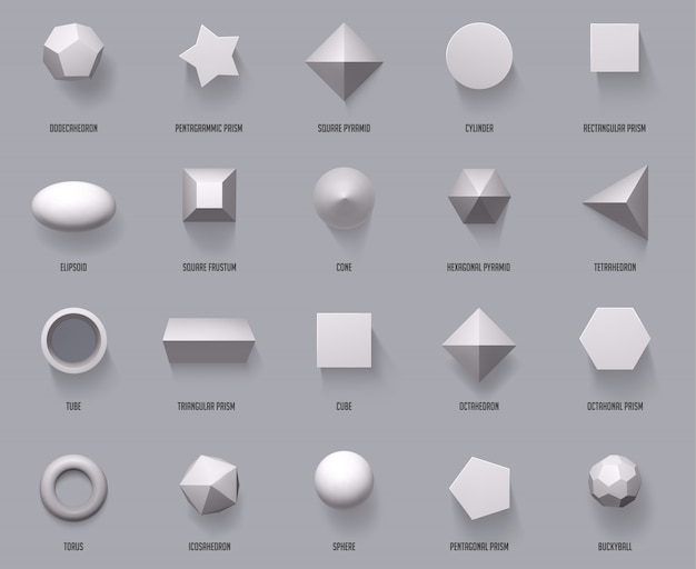 Hexagonal realistic  shapes. basic geometric shapes, math 3d figure forms cube, cylinder and prism shapes top view  illustration set. geometry sphere and pyramid, form and cube Premium Vector