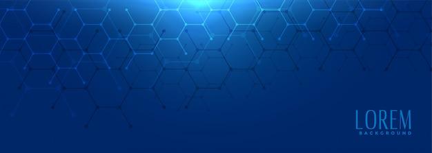 Banner largo blu di forma esagonale Vettore gratuito