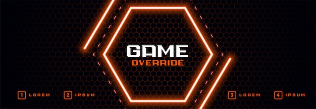 Hexagonal shape neon light banner Free Vector