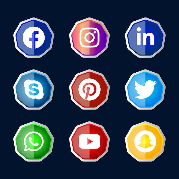 Ux Ui 온라인 사용을 위해 설정된 그라디언트 효과가있는 육각형 반짝이는 실버 프레임 소셜 미디어 아이콘 버튼 프리미엄 벡터