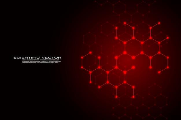 Hexagonal structure molecule dna of neurons system background Premium Vector