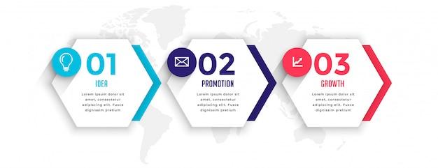 6 각형 스타일 3 단계 비즈니스 infographic 서식 파일 무료 벡터
