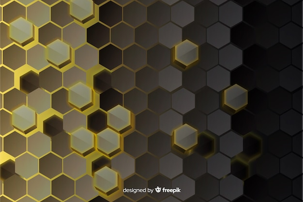Hexagonal technology abstract glass background Free Vector