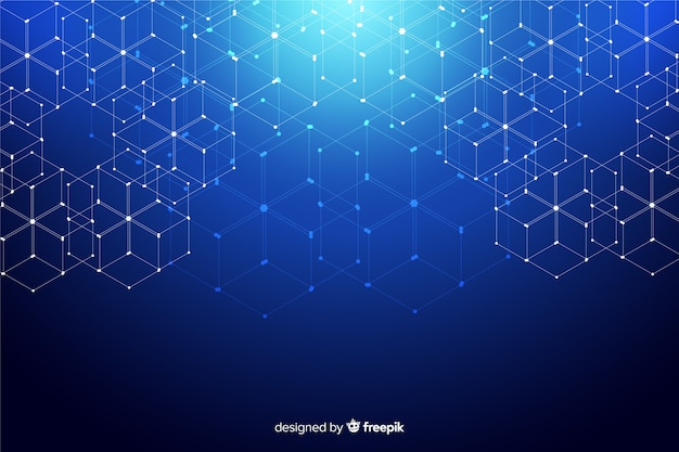 Hexagonal technology particles background Free Vector
