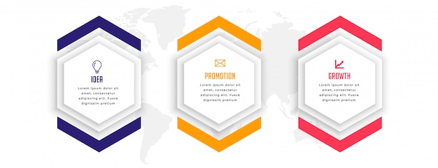Hexagonal three steps business infographic template design Free Vector