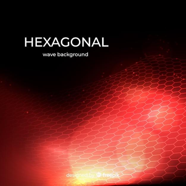 Hexagonal wave background Free Vector