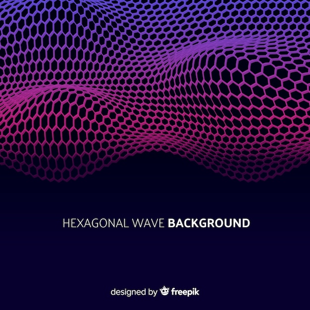 Hexagonal wave background Free Vector