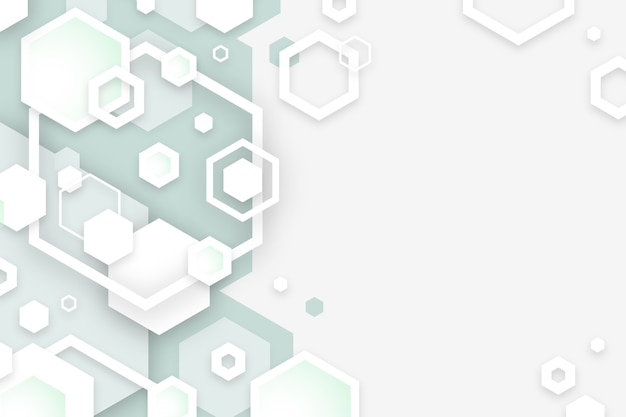 Hexagonal white shapes background in 3d paper style Free Vector