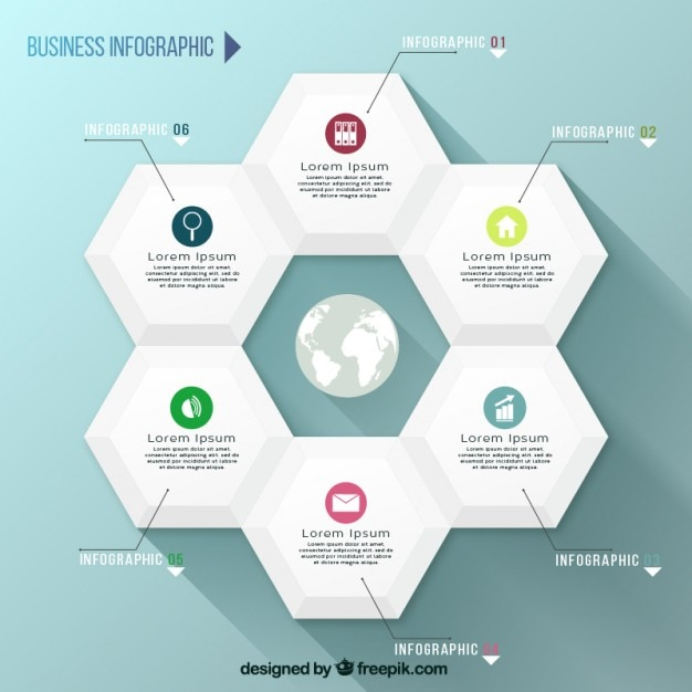 Hexagons infographic template Vector | Free Download