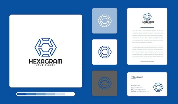ヘキサグラムロゴデザインテンプレート Premiumベクター