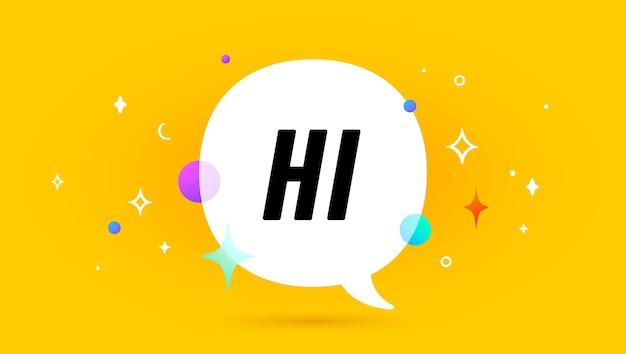 Здравствуй. баннер, речевой пузырь, плакат и концепция стикера, геометрический стиль мемфиса с текстом привет. Premium векторы