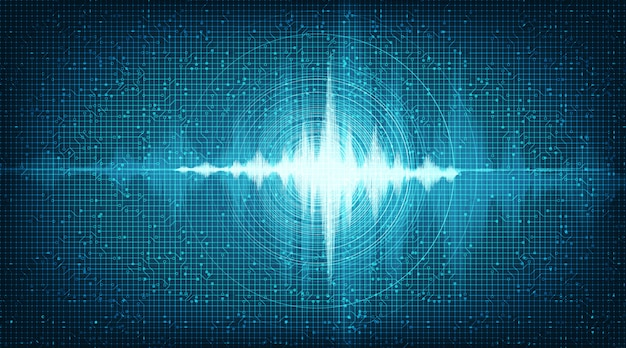 Hi-tech digital sound wave low and hight background Premium Vector
