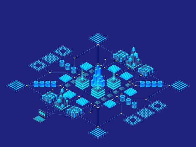 ハイテクデジタルテクノロジーのコンセプト。未来的な回路基板。電子マザーボード。コミュニケーションとエンジニアリングの概念。等角投影図 Premiumベクター
