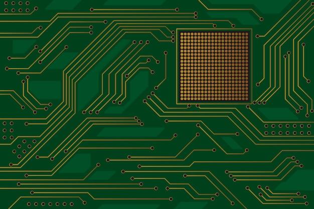 Привет технологий зеленый фон монтажной платы с позолоченными линиями. Premium векторы