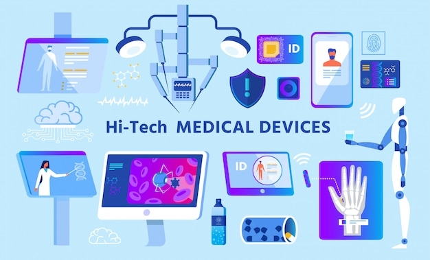 Hi-tech medical devices set on advertising poster Premium Vector