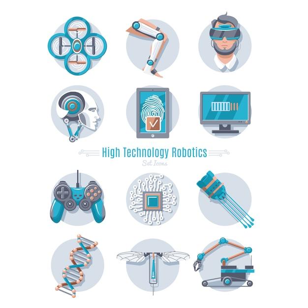 Набор высокотехнологичной робототехники Бесплатные векторы