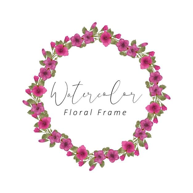 붉은 색 꽃과 녹색 잎 색상으로 히비스커스 꽃 프레임 수채화 디자인 프리미엄 벡터