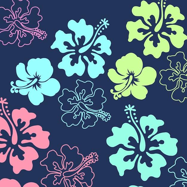 Hibiscus floral pattern Premium Vector