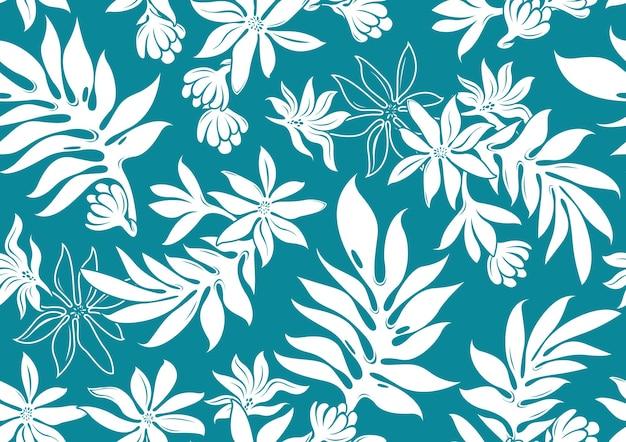 ハイビスカスハワイシームレスパターン、ファッションの背景。 Premiumベクター