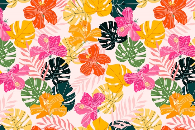 Hibiscus and monstera leaves tropical pattern design. vibrant summer colourful texture. exotic flowers and tropical palm branches. textile, fabric and stationery design background. fashionable pattern Premium Vector