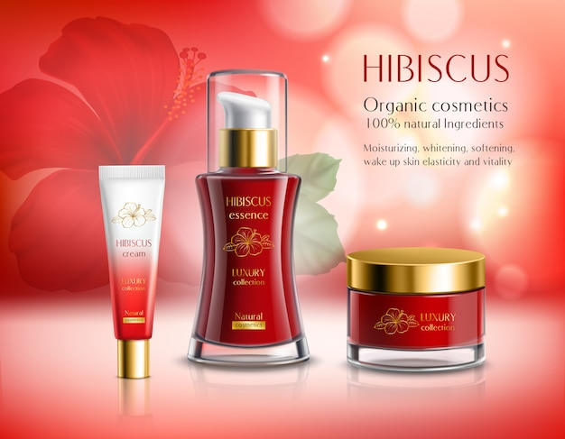 Hibiscus series cosmetics composition Free Vector