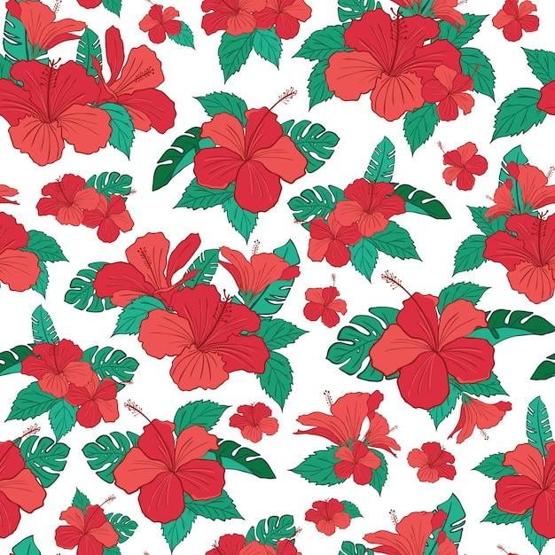 Hibiscus tropical flower pattern Premium Vector