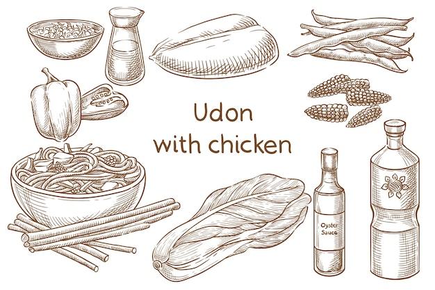 Смертельный удон. японская еда. ингредиенты. векторный эскиз Premium векторы