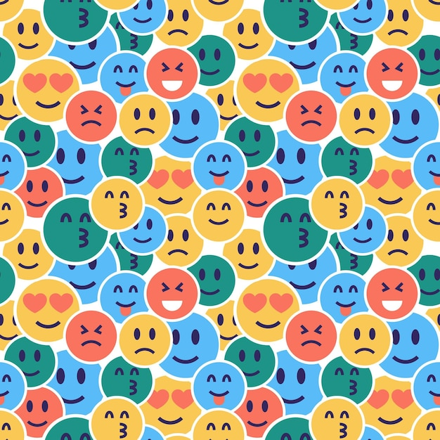 Hidden emoticons pattern template Premium Vector