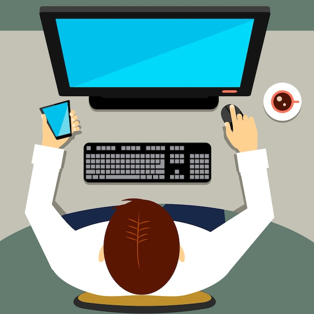 Высокий угол зрения человека, сидящего в офисе и работающего на настольном компьютере Бесплатные векторы