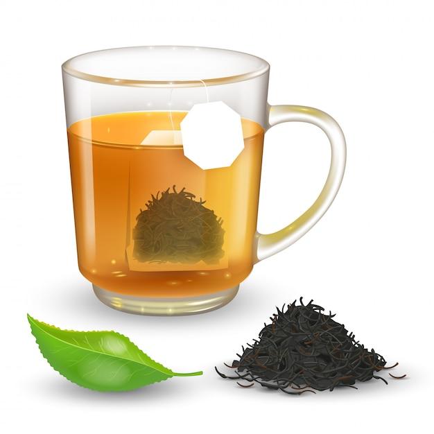 Высокая подробные иллюстрации прозрачной чашки с черным или зеленым чаем на прозрачном фоне. Premium векторы