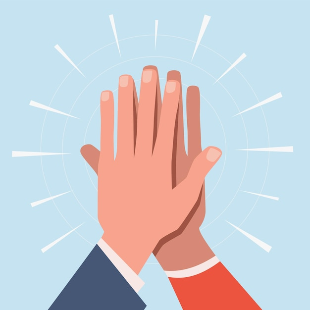 High five hands illustration Premium Vector