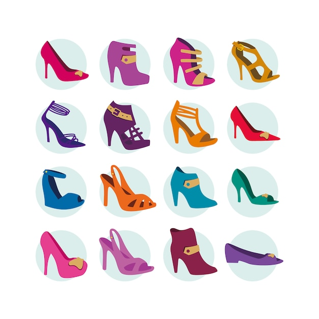 High heels icon collection Free Vector