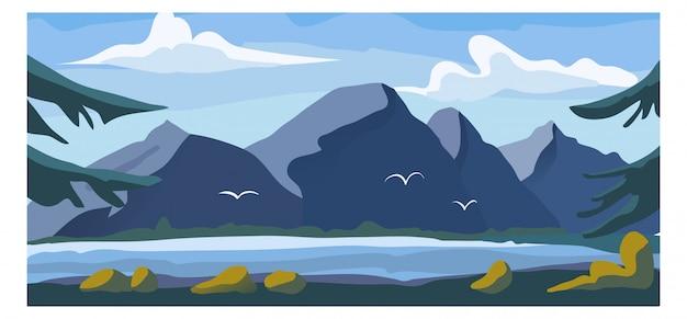 高山ビューの風景、淡水湖背景環境バナー漫画イラストの高山自然庭園。 Premiumベクター