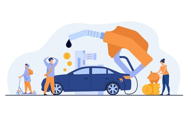 Prezzo elevato per il concetto di carburante per auto. persone che sprecano soldi per la benzina, cambiano auto per scooter, risparmiano denaro. illustrazione vettoriale piatto per economia, rifornimento di carburante, concetto di trasporto urbano Vettore gratuito