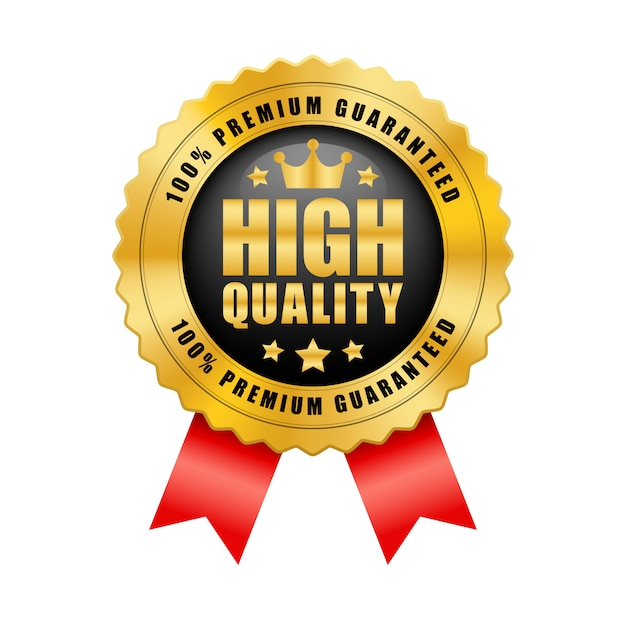 Premium Vector | High quality 100% premium guaranteed crown and 5 stars black and gold badge with red ribbon glossy metallic logo vintage
