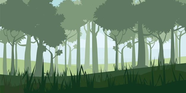 A high quality background of landscape with deep deciduous forest Premium Vector