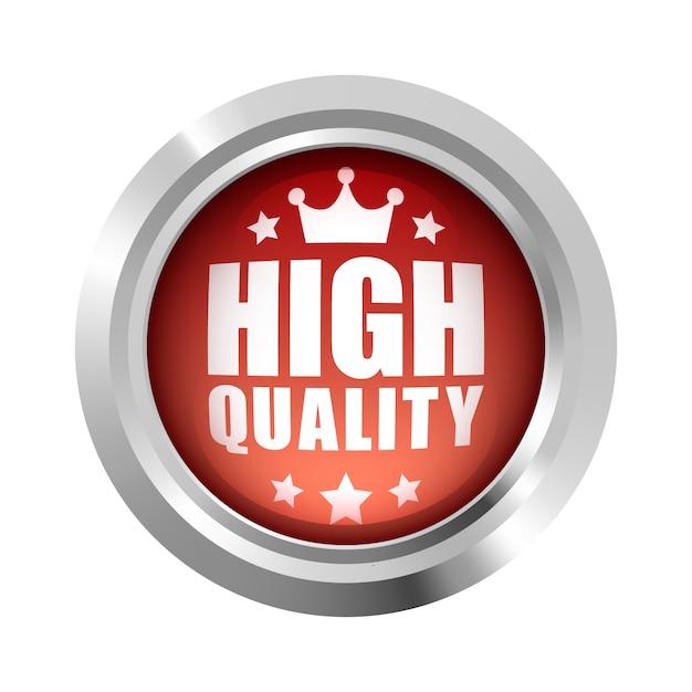 高品質の王冠と5つ星のバッジロゴ赤い光沢のあるシルバーメタリック Premiumベクター