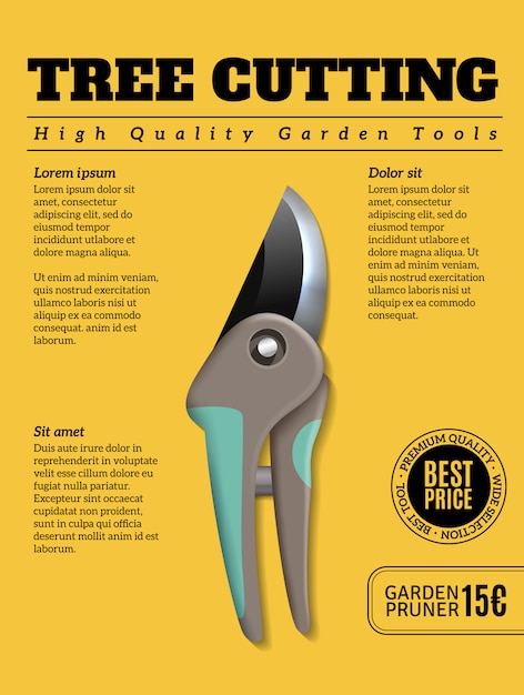 High quality garden tools realistic advertisement poster with tree shrub plant bush pruners cutters secateurs Free Vector