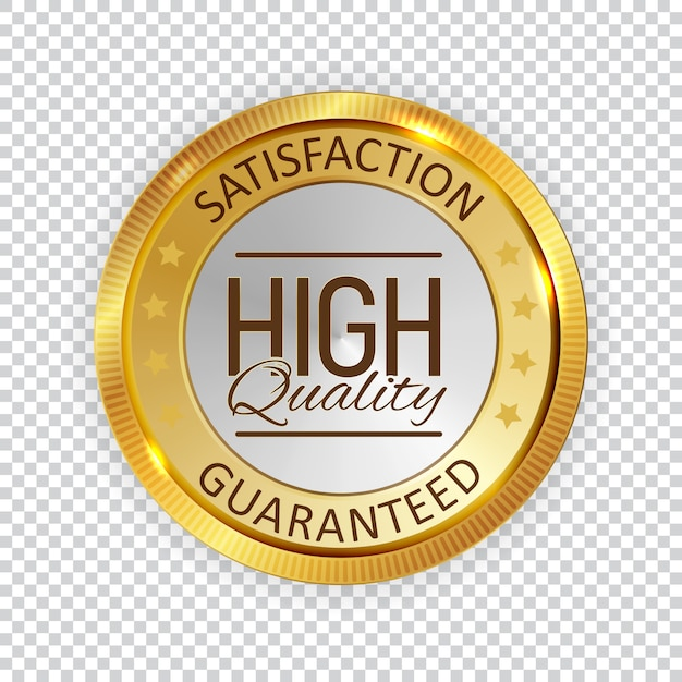 High quality golden shiny label sign. Premium Vector