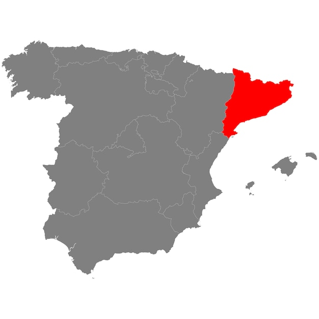High quality map of spain with borderrs of catalonia Premium Vector