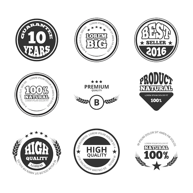 High quality, premium, guarantee vintage vector wax seals labels, badges and logos. warranty banner Premium Vector