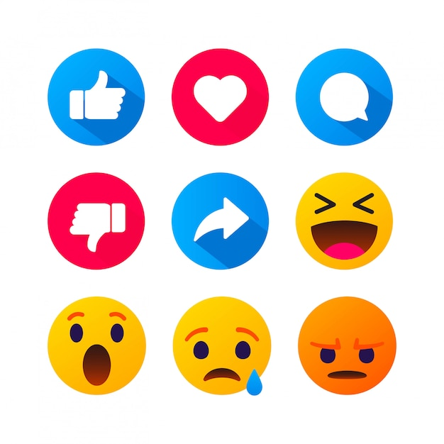 Высококачественные круглые желтые мультипликационные смайлики пузыря комментируют социальные медиа. реакция в комментариях к чату, значок шаблона лицо слеза, улыбка, грусть, любовь, как, lol, смех смайликов сообщение персонажа Premium векторы