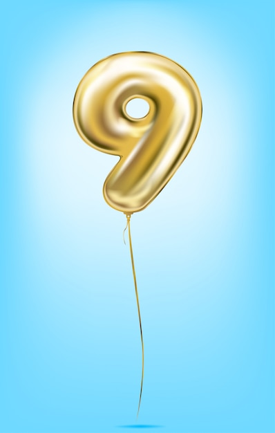 High quality vector image of gold balloon numbers Premium Vector