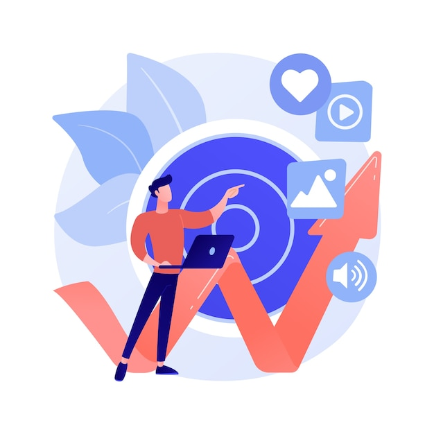 High roi content abstract concept vector illustration. social media marketing, online content production, high roi publication, return on investment measuring, digital strategy abstract metaphor. Free Vector