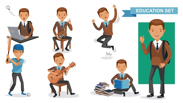 High school boys set. student activity and back to school concept. Premium Vector
