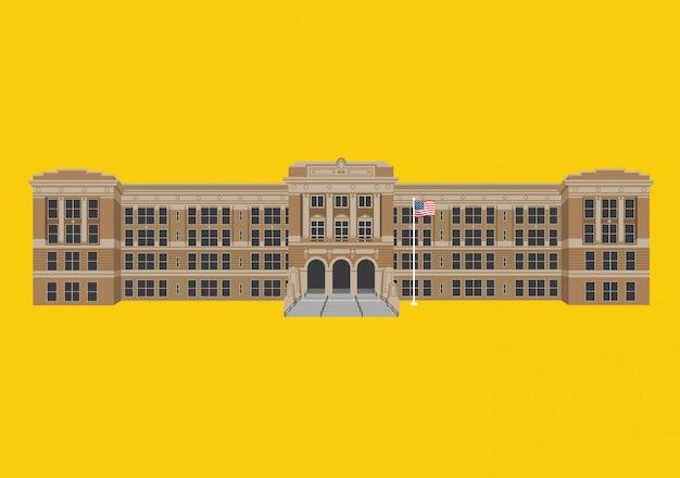 High school building Premium Vector
